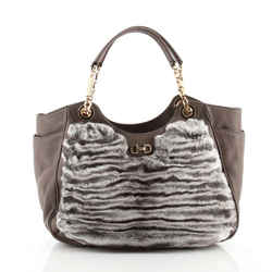 Betulla Chain Tote Leather and Fur Medium