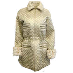 Chanel Gold Quilted Satin Parka Coat