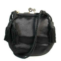 Judith Leiber - Mini Crossbody Clutch Bag - Black Satin Tassel Rope Shoulder