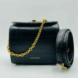 Alexander Mcqueen Black Crocodile Embossed Leather Box 19 Bag 501105 Dzt0m 1000