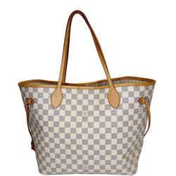 Louis Vuitton Neverfull Mm Damier Azur Tote Shoulder Bag White