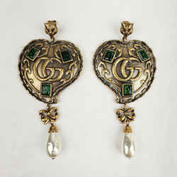 Gucci Cruise Large Gold Heart Earrings W/green Gems Tiger Head And Pearl 492243