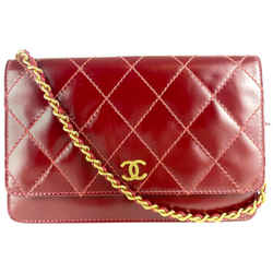 Chanel Dark Red Quilted Matte Patent Leather Wallet on Chain Gold 47C1117