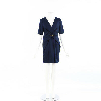 Gucci Dress Navy Wool Buckled V-Neck SZ 40
