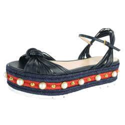 Gucci Barbette Pearl Studded Platform Espadrille Sandal Sz 38 New $1150 Stripe