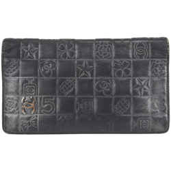 Chanel Quilted Black Leather Charm Embossed CC Flap Long Wallet 10ccs1231