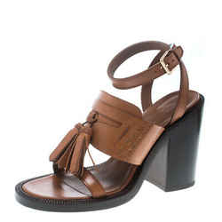 Burberry Cognac Brown Leather Bethany Tassel Detail Block Heel Sandals Size 38