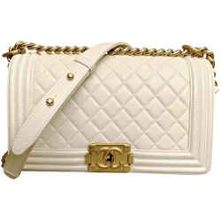 Chanel Medium Boy Bag In Ivory Quilted Lamb With Brushed Gold