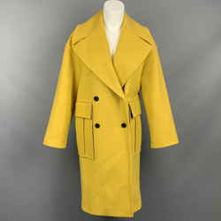 KENZO Size 4 Yellow Wool Blend Notch Lapel Double Breasted Coat