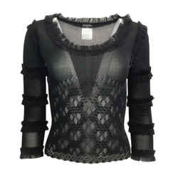 Chanel Ruffle Cut Out Black Sweater