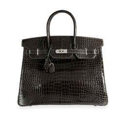 Hermes Graphite Shiny Porosus Crocodile Birkin 35 PHW