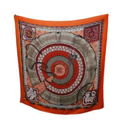Hermes Orange Print Multi Cashmere Shawl