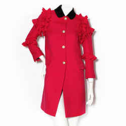 Gucci Fuchsia Coat with Pearl Buttons and Ruffles FW2016