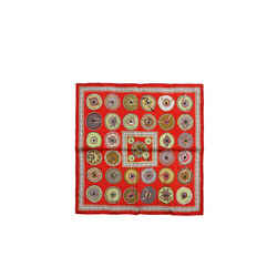 Hermes Red Belles Du Mexique Silk Pochette Pocket Square