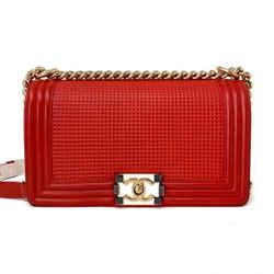 Chanel Old Medium Cube Le Boy Bag Red