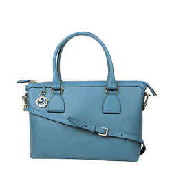Gucci Women's Gg Charm Teal Blue Leather Medium Convertible Straight Bag With