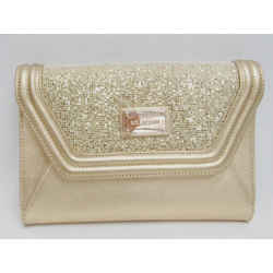 New St. John Clutch Evening Envelope Gold Leather Shimmery