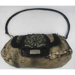 Prada Small Nylon Taupe Black Embellished Rhinestones Shoulder Bag Leather Trim