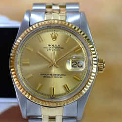 Rolex Mens VINTAGE Datejust Two-tone 36mm Champagne Dial
