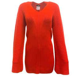Chanel Red Cashmere Twist Back Dress