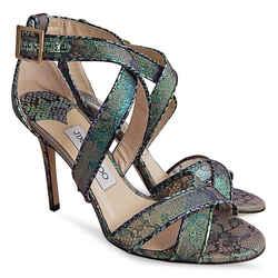 New $926 Jimmy Choo Blue Aloe Mix Holographic Lace Lottie Sandals - Size 36 1/2