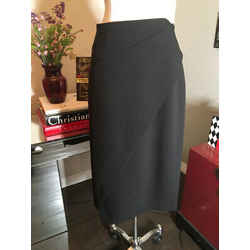 Donna Karan Size 8 Black Polyester Crepe Pencil Skirt 124-51-2720