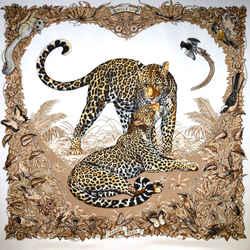Jungle Love Hermes Scarf By Robert Dallet 90cm Silk Twill W/box & Ribbon