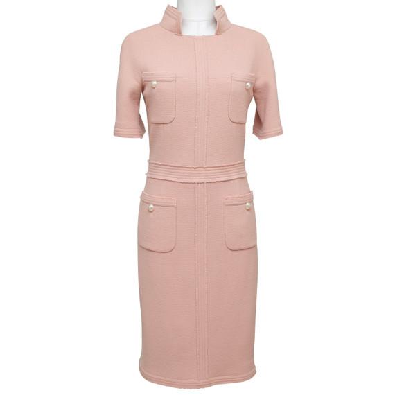 Chanel Dress Short Sleeve Pink Pearls Gold Cc Fringed Sheath Wool Mock Neck 38