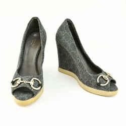 """GUCCI: Gray """"GG"""" Logo & """"Horsebit"""" Wedge Heels/Pumps Sz: 6.5M"""