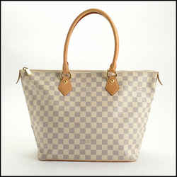 Rdc10741 Authentic Louis Vuitton Damier Azur Saleya Mm Tote