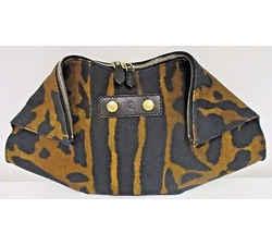 Alexander Mcqueen Brown & Coffee Animal Print De-manta Fabric & Leather Clutch