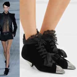 38 NEW $1,895 SAINT LAURENT Runway CRYSTAL Black Velvet BLAZE 45 Ankle BOOTS NIB