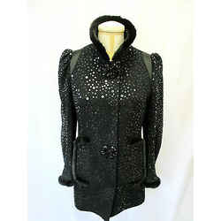 Andrew Gn Black Sequin Short Jacket With Mink Trim At Cuffs & Collar - Size 42