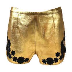 MARC JACOBS Gold & Black Leather Shorts w/Flower Applique Size 4