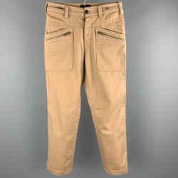 3.1 Phillip Lim Size 28 Tan Cotton Stretch Canvas Zip Patch Pocket Pants