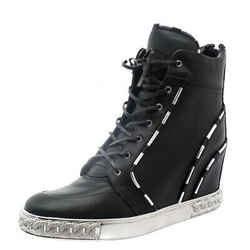 Casadei Black Leather Chain Detail Wedge Sneakers Size 41