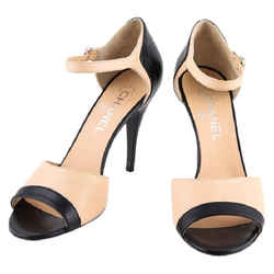 Chanel High Heel Pump Shoes Black/Beige Size 8.5 Authenticity Guaranteed