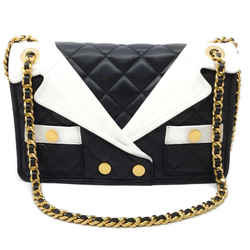 Moschino Jacket Lapel Black / White Leather Shoulder Bag