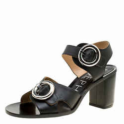 Joseph Black Leather Buckle Detail Block Heel Sandals Size 40