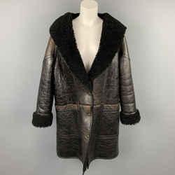 GOLDEN GOOSE Size S Dark Brown Crackled Leather Shearling Hooded Oversized Coat