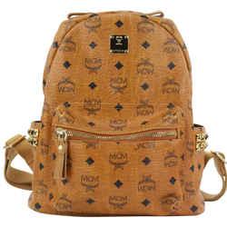 MCM Cognac Monogram Visetos Side Stud Small Backpack  862617