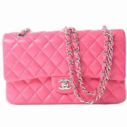 Auth Chanel Chanel Lambskin Matrasse Coco Mark W Flap Chain Shoulder Bag Pink