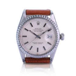 Rolex Mens Datejust Silver Dial Engine Turned Bezel 36mm Leather Band