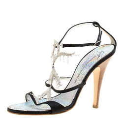 Giuseppe Zanotti Black Satin Crystal Embellished Strappy Sandals Size 38.5