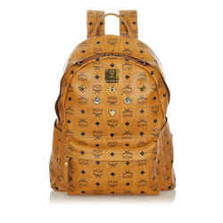 Brown MCM Visetos Stark Leather Backpack Bag