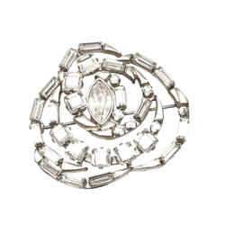 Vintage Authentic Gucci Silver Resin Plastic Rhinestone Brooch Italy
