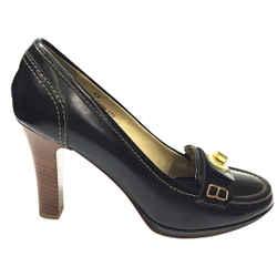 "COACH Black Leather Signature Gold Turnlock Accent ""DANNA"" Heel Pumps"