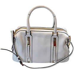 "Michael Kors Large Julia White Leather Satchel 14""L x 5""W x 10""H"