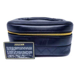 Chanel Black Toiletry Lambskin Leather Cosmetic Bag