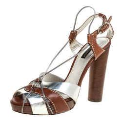 Dolce & Gabbana Silver/Brown Leather Platform Ankle Strap Sandals Size 38